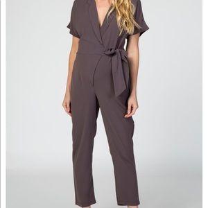 Charcoal Short Sleeve Wrap Maternity Jumpsuit